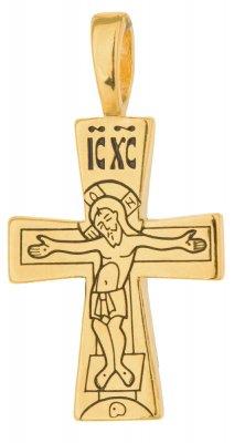 746 Крест нательный с Распятием и Богородицей, серебро 925° с позолотой