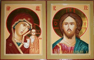 Венчальная пара писаные иконы Господь Вседержитель и Пресвятая Богородица