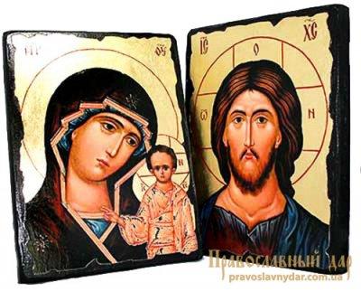 Венчальная пара под старину Пресвятая Богородица Казанская и Господь Вседержитель с позолотой 13x17 см