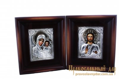 Венчальная пара Пресвятая Богородица Казанская и Господь Вседержитель в киоте и метале