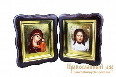 Венчальная пара Пресвятая Богородица Казанская и Господь Вседержитель в киоте с сусальным золотом