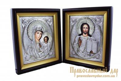 Венчальная пара Пресвятая Богородица Казанская и Господь Вседержитель в киоте и метале с розами