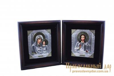 Венчальная пара Пресвятая Богородица и Господь Вседержитель в киоте и маттале, маленькая