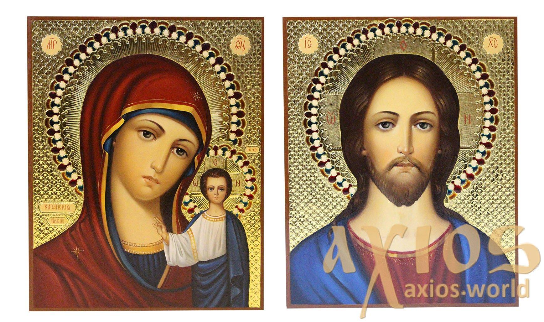 Писані ікони Вінчальна пара Казанська Богородиця і Спаситель 16х20 ... 2a3ba74c74af5
