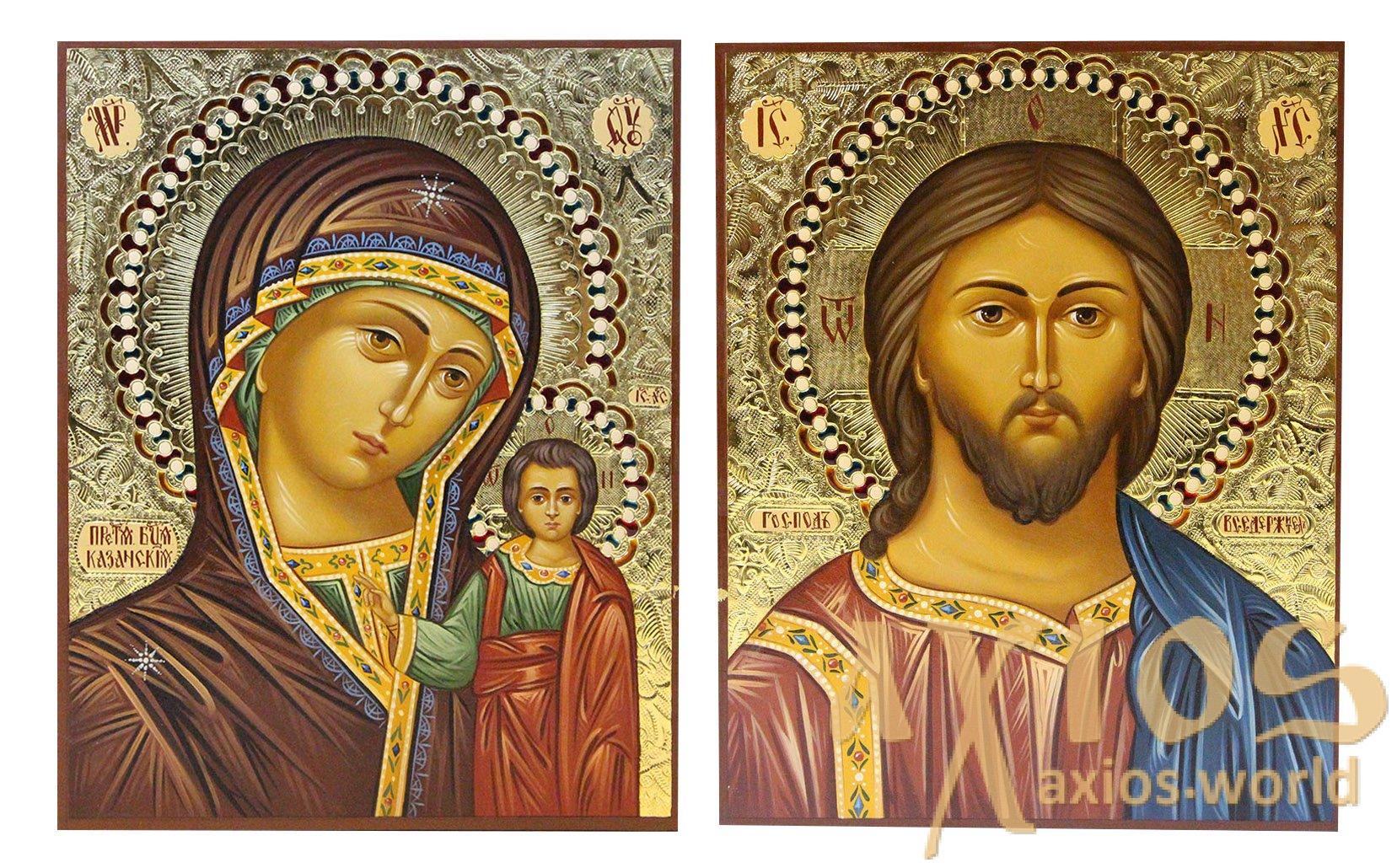 Писані ікони Вінчальна пара Спаситель і Казанська Богородиця 16х20 ... 8637b2b93290c